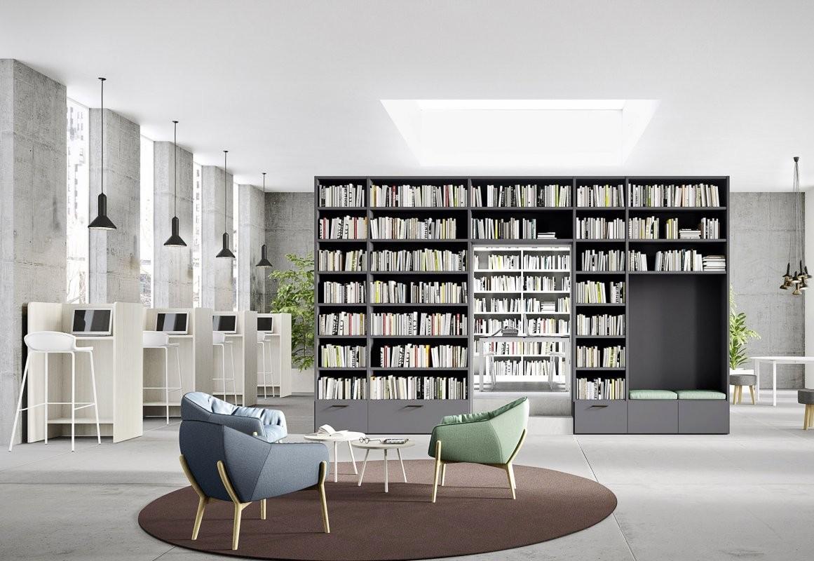 Librerie a ponte cinquanta3 ginocchi arredamenti for Salotto con libreria