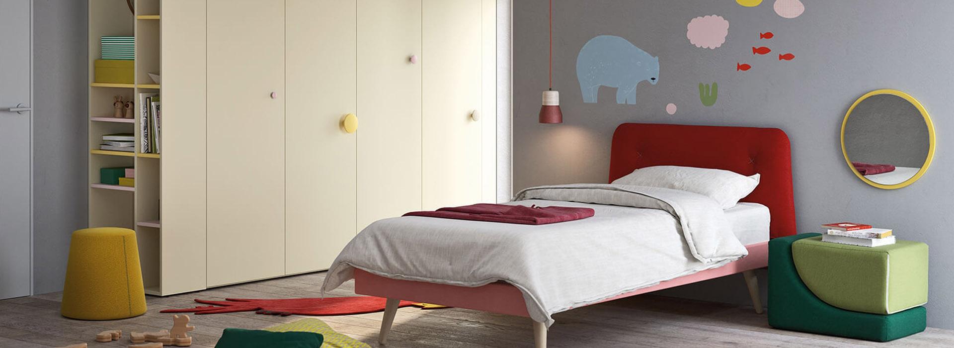 Cameretta con letto singolo cleo camerette nidi for Ginocchi arredamenti
