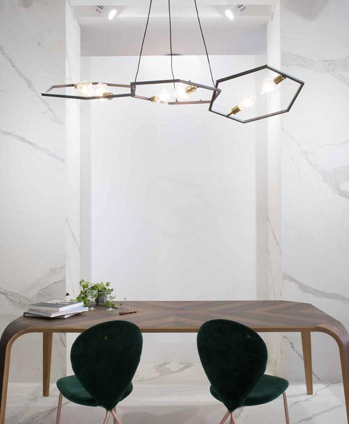 Lampada a sospensione esagono ginocchi arredamenti for Imitazioni lampade design