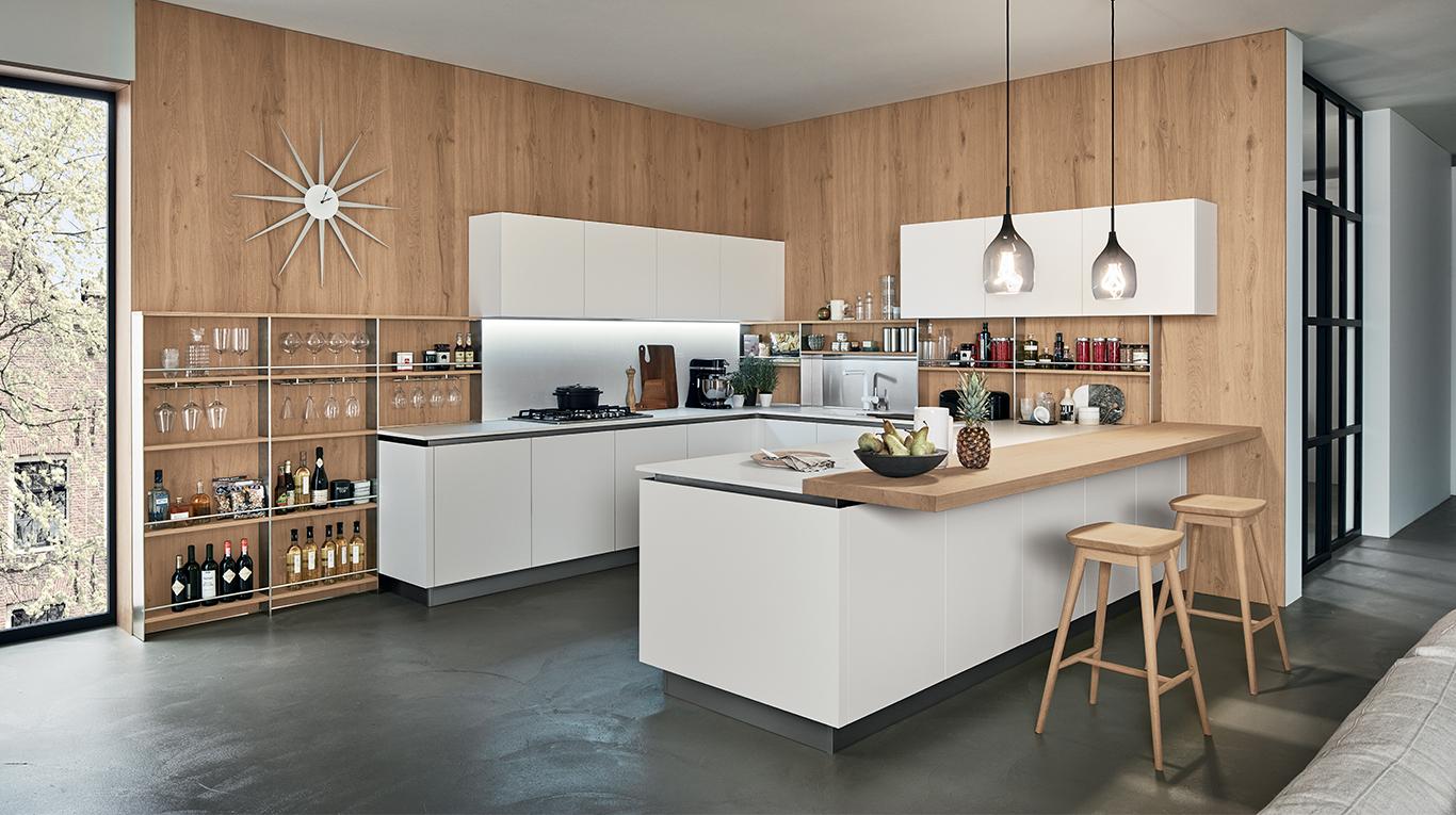 Oyster pro cucine moderne veneta cucine ginocchi for Prezzi cucine con penisola